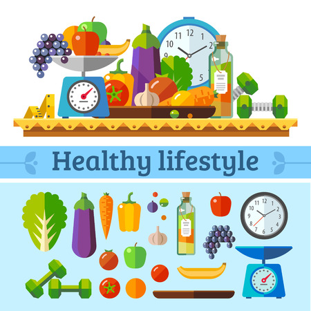 Photo pour Healthy lifestyle a healthy diet and daily routine. Vector flat illustration. - image libre de droit