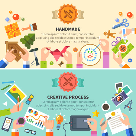 Photo for Handmade and creative process: drawing photo embroidery workshop. Vector flat illustrations - Royalty Free Image