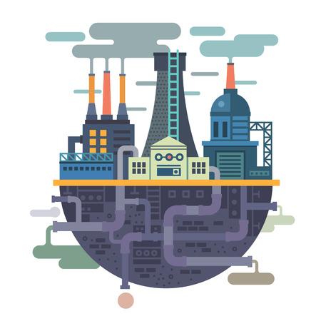 Ilustración de Industrial landscape. Plant or factory. Ecology. Pollution. Vector flat illustration - Imagen libre de derechos