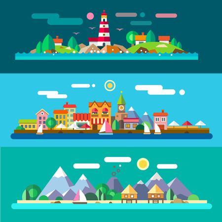 Illustration for Landscapes by the sea: lighthouse and rocks city embankment beach resort. Vector flat illustrations - Royalty Free Image