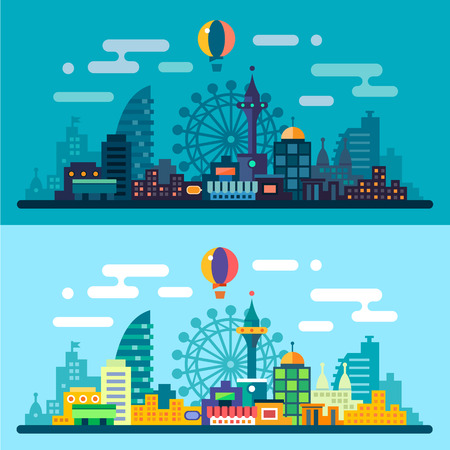 Illustration pour Night and day city landscape. Skyline with the Ferris wheel and skyscrapers. Vector flat illustrations - image libre de droit
