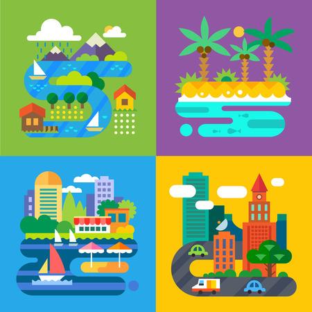 Ilustración de Summer landscapes. Vacation and travel. Alpine village tropical island big city provincial town. Vector flat illustrations - Imagen libre de derechos