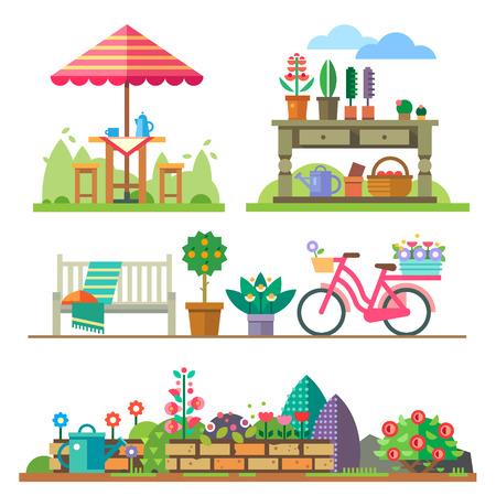 Illustration pour Garden landscapes summer and spring: picnic bike watering can flower bed. Vector flat illustrations - image libre de droit