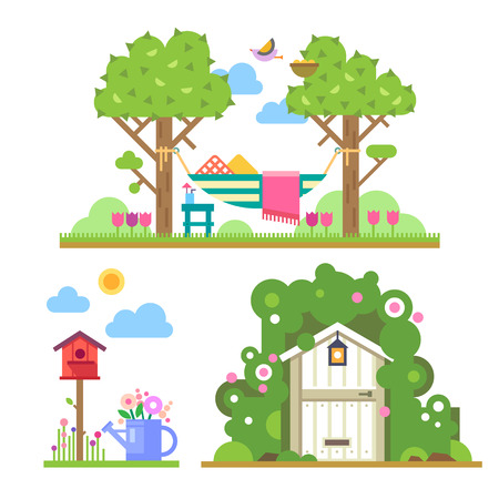 Ilustración de Summer garden. Landscape with trees and hammock house in forest birdhouse watering can flowers. Vector flat illustrations - Imagen libre de derechos
