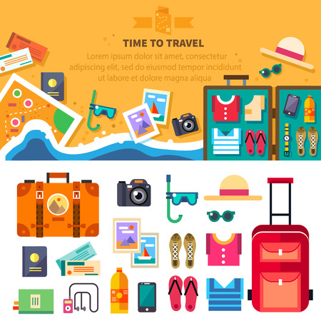 Illustration pour Time to travel summer vacation beach rest: sun sea waves mask hat open suitcase clothes shoes passport tickets map. Vector flat background and objects illustrations - image libre de droit