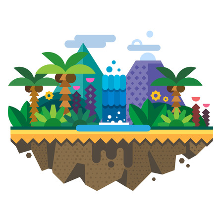 Illustration for Uninhabited island jungle. Tropical landscape with a waterfall and palm trees. Vector flat illustration - Royalty Free Image