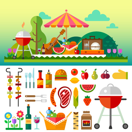 Illustration pour Summer picnic in meadow with flowers: umbrella guitar basket with food fruits barbecue. Vector flat illustrations and set of element - image libre de droit