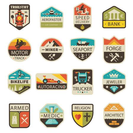 Illustration pour Vintage and badges. Professions and Transportation. Vector flat logo set - image libre de droit