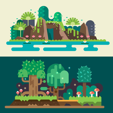 Illustration pour Tropical and forest landscapes: stones lake flowers trees grass bushes mushrooms. Magical nature. Backgrounds for game. Vector flat illustrations - image libre de droit