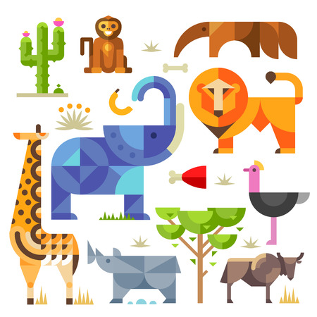 Photo pour Geometric flat Africa animals and plants including elephant lion monkey giraffe rhino ostrich anteater hyena cactus - image libre de droit