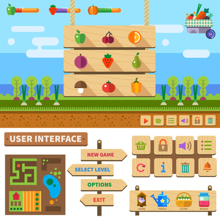 Farm in the village. Wooden User Interface for game: basic controls menus popup windows icons