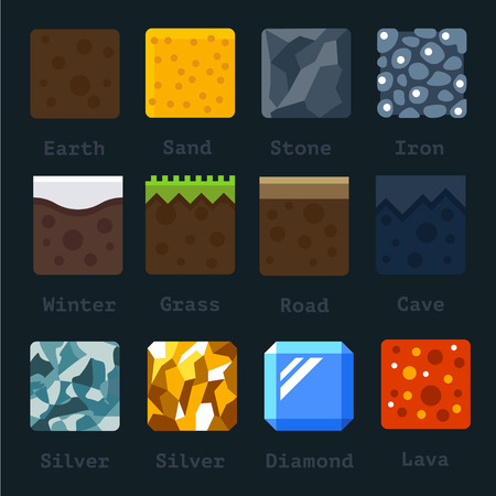 Illustration pour Different materials and textures for the game. Vector flat tile set. Ground sand stone gold silver lava metal iron snow - image libre de droit