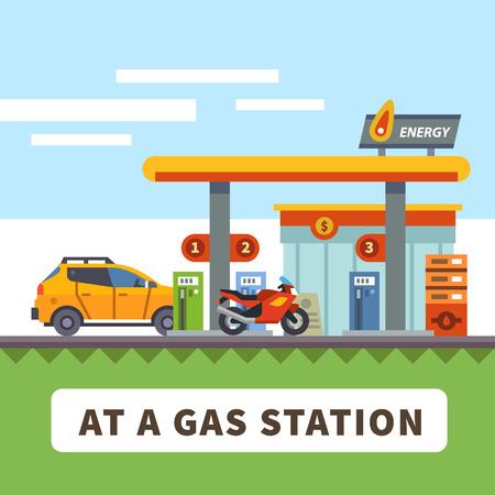 Illustration pour Car and motorcycle at a gas station. Urban landscape. Vector flat illustration - image libre de droit