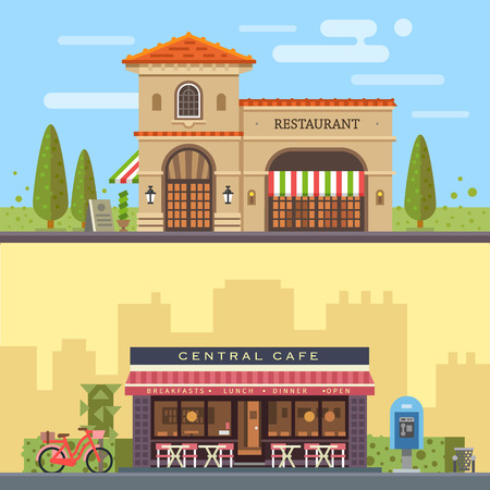 Foto de Landscape with buildings restaurant and cafe. Cityscape. Vector flat illustration - Imagen libre de derechos