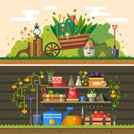 Ilustración de Spring and summer Work in the garden.  - Imagen libre de derechos