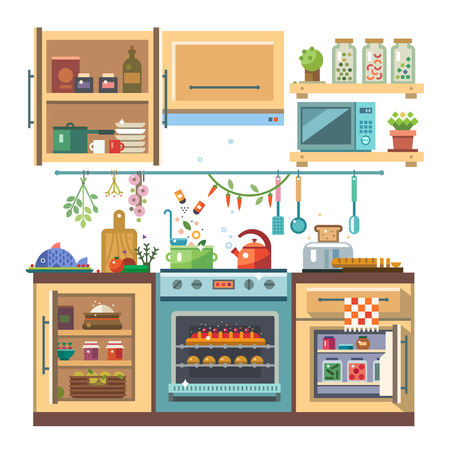 Illustration pour Home kitchenware food and devices in color vector flat illustration. Stove oven with baking refrigerator condiments - image libre de droit