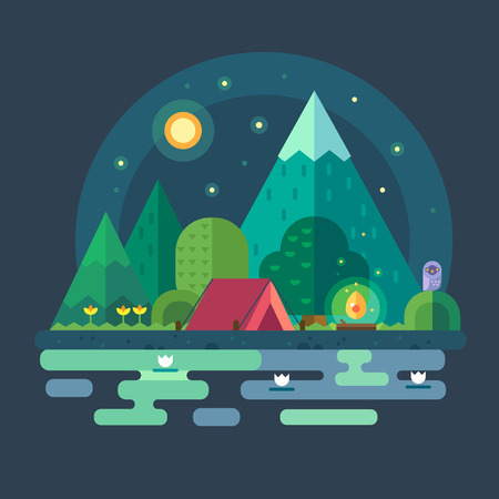 Illustration pour Night landscape in the mountains. Starry sky. Solitude in nature by river. Overnight in a tent. Hiking and camping. Vector flat illustration - image libre de droit
