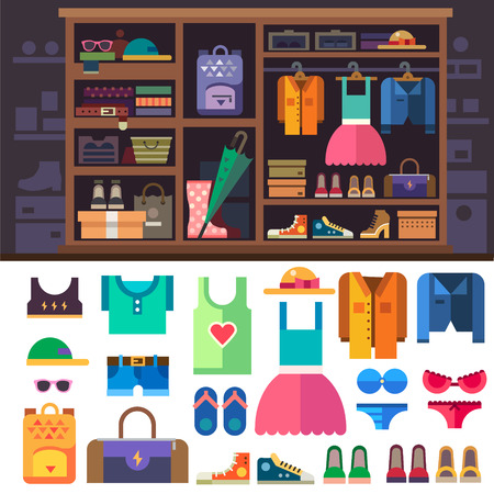 Illustration for Wardrobe, items of personal style for women. Women's clothes and shoes for sports and rest. Closet with shelves and drawers. Vector flat illustration - Royalty Free Image