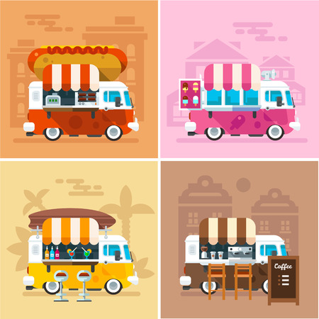 Illustration pour Cafe car on the street. Hotdog, bar, ice cream, coffee shop on wheels. Vector color flat illustrations - image libre de droit