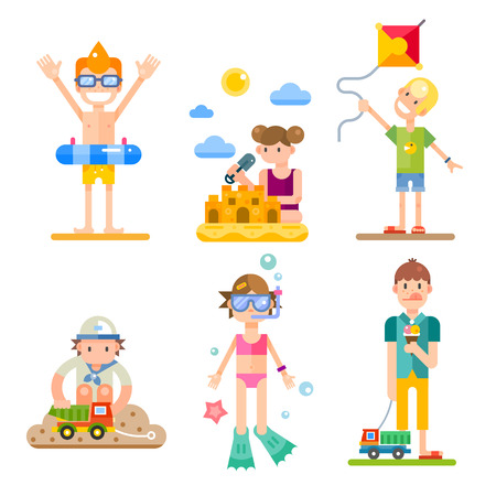 Ilustración de Children on summer vacation, their activities and fun on the holidays. Food, swimming, kites, games. Vector flat illustrations of different characters, boys and girls - Imagen libre de derechos
