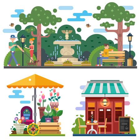 Illustration pour Beautiful city space in summer time: flower shop, cafe outdoor. Walking the dog in the city park, rest on the bench. People characters. Vector flat illustration - image libre de droit