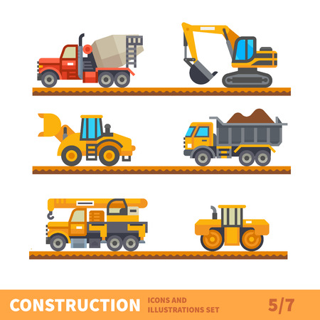Ilustración de Construction set. Transport for construction. Transport of gravel, concrete workpiece, asphalting. Vector flat illustration - Imagen libre de derechos