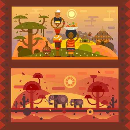 Illustration pour African everyday. A woman with a bowl on head, boy with fruit in a plate. National houses, native animals. Vector flat illustration - image libre de droit