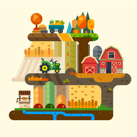 Illustration pour Farm life: natural economy, agriculture, seeding, watering, autumn harvesting. Village landscapes with farm building, tractor, well, field, garden, trees. Vector flat illustration - image libre de droit