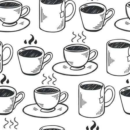 Ilustración de Seamless pattern with hand drawn sketchy tea and coffee cups. Coffee break  tiling background. - Imagen libre de derechos