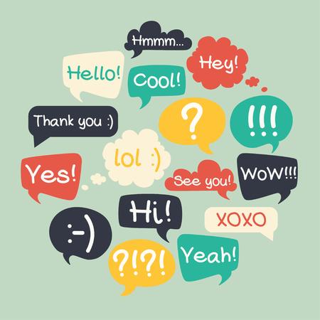 Illustration pour Trendy speech bubbles set in flat design with short messages. - image libre de droit