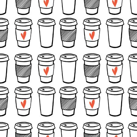 Ilustración de Seamless pattern with hand drawn doodle cups of coffee to go. Cartoon morning coffee tiling pattern. - Imagen libre de derechos