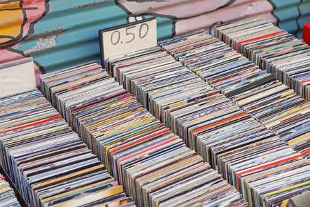 Photo for Used CDs for sale at flea market - Royalty Free Image