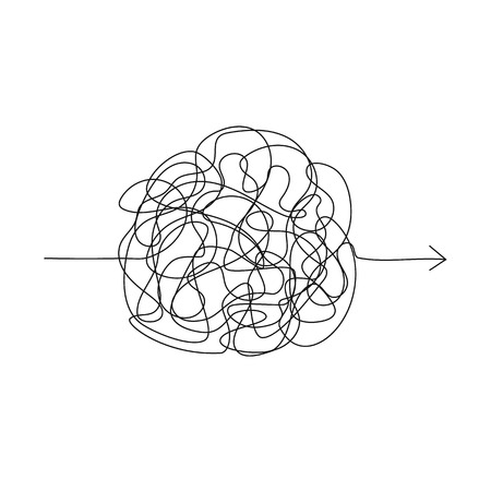 Illustration pour Vector symbol of complicated way with scribbled round element, chaos sign, pass the way linear arrow with clew or tangle ball in center - image libre de droit