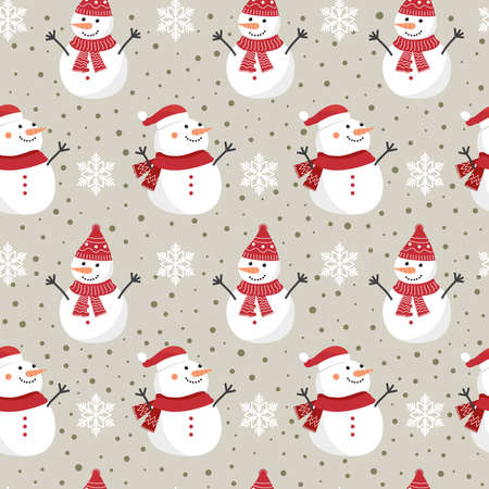 Christmas seamless pattern with snowman background, Winter pattern with snowflakes, wrapping paper, winter greetings, web page background, Christmas and New Year greeting cards