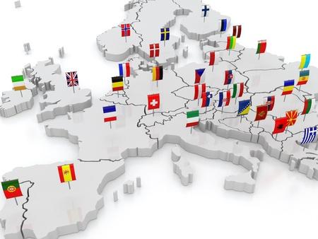 Photo pour three-dimensional map of Europe  3d - image libre de droit