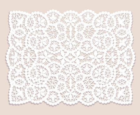 Illustration for White lace doily with flowery pattern on a beige background - Royalty Free Image