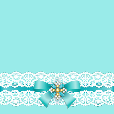 Illustration for White lace border with a bow on a turquoise background - Royalty Free Image