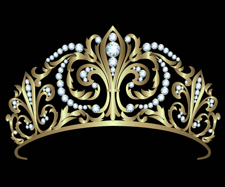 Illustration for Gold diadem with diamonds on black background - Royalty Free Image