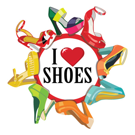 Illustration for Set of Colorful fashion women s shoes,open shoes,High heel shoes ,gorgeous shoes,open toe shoes Casual and festive Proverb I love shoes A poster,a sticker,screensaver Fashion illustration,vector - Royalty Free Image