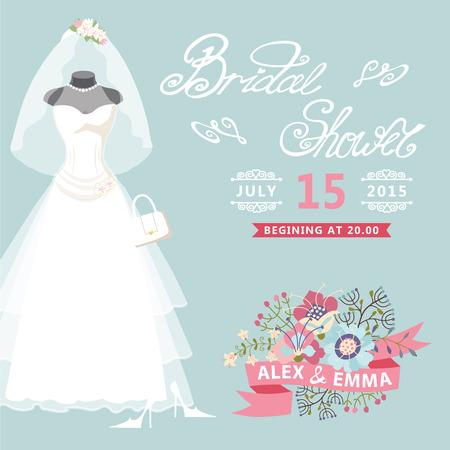 Bridal Shower card Vintage wedding dress with floral elements