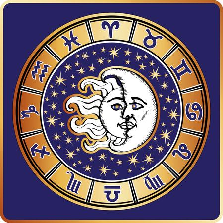 Ilustración de Horoscope circle.All zodiac sign,moon,sun - Imagen libre de derechos