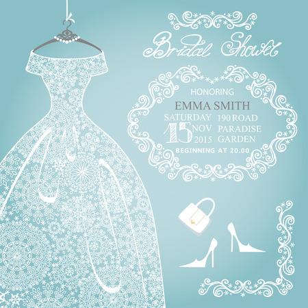Bridal shower invitation.Wedding snowflake lace dress