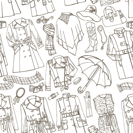 Ilustración de Outline Fashionable female outerwearand accessories seamless pattern on Sketchy style.Woman Autumn ,winter,spring wear in outline sketch.For fabric,background,backdrop,Wallpaper.Fasion Vector. - Imagen libre de derechos