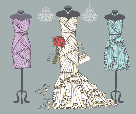White wedding dress,bridesmaid dresses.Bridal set