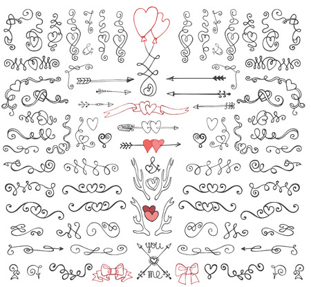 Illustration for Doodle swirls,arrows,decor element.Love set - Royalty Free Image