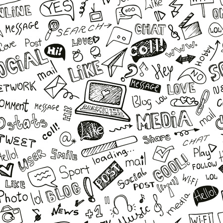 Illustration for Social Media Word,Icon seamless pattern.Doodle sketchy - Royalty Free Image