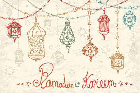 Illustration pour Traditional lantern garland of Ramadan Kareem .Doodle greeting card .Holy month of muslim community.Hand drawing hanging arabic lamp, star and moon on blue background.Horizontal Vector - image libre de droit