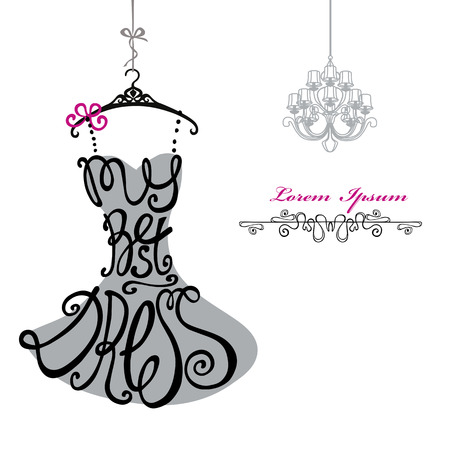 Photo pour Typography Dress Design.Silhouette of woman classic little dress from words My best dress with chandelier. Swirling curves font.Fashion Vector illustration.Design template,background - image libre de droit