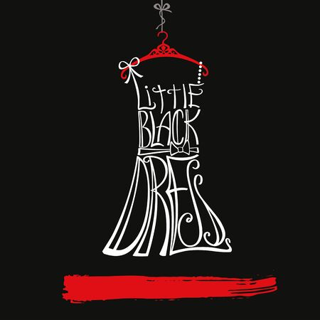 Photo pour Typography Dress Design.Silhouette of woman classic little black dress from words. Swirling curves font.Black ,white and red.Fashion Vector illustration,background. - image libre de droit