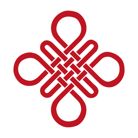 Illustration pour Endless Auspicious knot . China,Tibet, Eternal , Buddhism and Spirituality icon,symbol.Vector red sign.Feng  Shui traditional element,geometric ornament. - image libre de droit